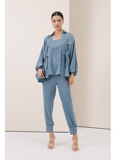 Gusto Beli Büzgülü Ceket Bluz - Mavi Beli Büzgülü Ceket Bluz - Mavi Mavi